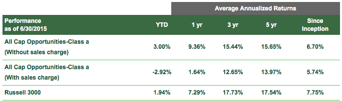 Zacks All-Cap Core Fund Performance