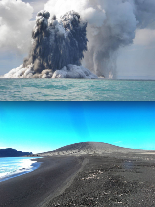 volcano and island